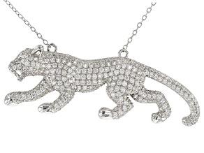 Zircon Rhodium Over Sterling Silver Jaguar Necklace 4.50ctw