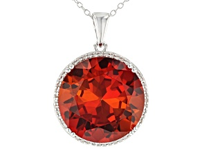 Orange Lab Created Padparadscha Sapphire Silver Pendant With Chain 25.40ctw