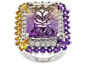 Bi-Color Ametrine Rhodium Over Silver Ring 17.03ctw