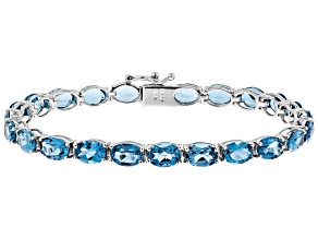 London Blue Topaz Rhodium Over Silver Tennis Bracelet 18.46ctw