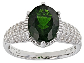 Green Chrome Diopside Rhodium Over Sterling Silver Ring 3.21ctw