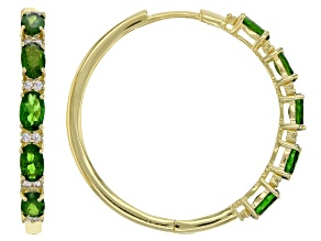 Chrome Diopside 18K Yellow Gold Over Silver hoop Earrings 2.70ctw