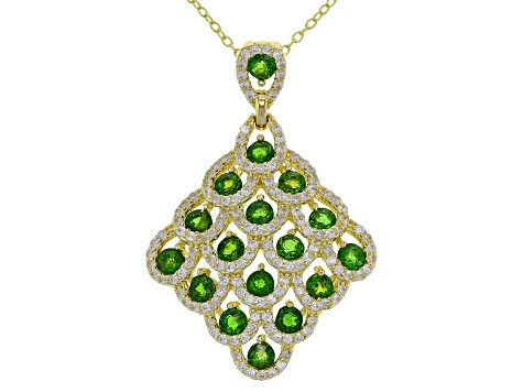 Green Chrome Diopside 18k Gold Over Silver Pendant With Chain 3.47ctw