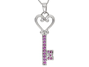 Lab Created Pink Sapphire Rhodium over Sterling Silver Pendant with chain .27ctw