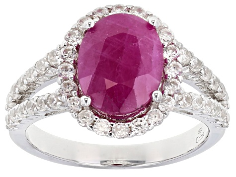 Red Burmese Ruby Rhodium Over Sterling Silver Ring 4.70ctw