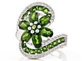Green Russian Chrome Diopside Rhodium Over Silver Ring 4.75ctw
