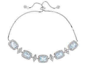Blue Aquamarine Rhodium Over Silver Bolo Bracelet 6.67ctw