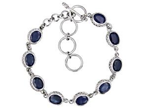 Blue Sapphire Sterling Silver Bracelet 14.50ctw