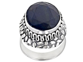 Blue Sapphire Silver Solitaire Ring 16.00ct