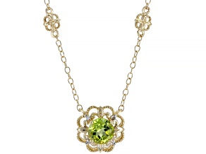 Peridot 14K Yellow Gold Flower Necklace 0.924ctw