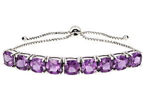 Purple Lab Created Color Change Sapphire Rhodium Over Sterling Silver Bolo Bracelet 24.00ctw