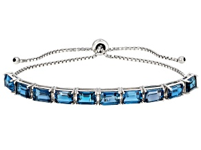 London Blue Topaz Rhodium Over Sterling Silver Bolo Bracelet 10.00ctw