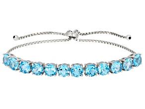 Blue Swiss Topaz Rhodium Over Sterling Silver Bolo Bracelet 9.96ctw