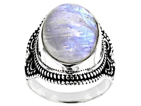 Rainbow Moonstone Solitaire Sterling Silver Ring