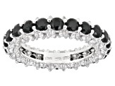 Black Spinel Rhodium Over Silver Eternity Band Ring 4.40ctw