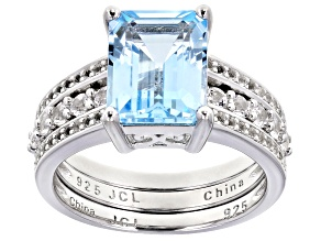 Blue Topaz And White Topaz Accent Rhodium Over Silver Ring W/ White Topaz Rhodium Over Silver Ring