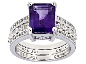 Amethyst And White Topaz Rhodium Over Silver Ring W/ White Topaz Rhodium Over Silver Band