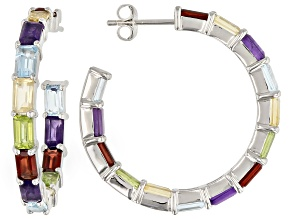 Multi Stone Rhodium Over Sterling Silver J-Hoop Earrings. 11.09ctw