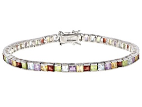 Multi Stone Rhodium Over Sterling Silver Bracelet.