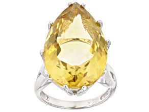 Yellow Citrine Rhodium Over Sterling Silver Ring 20.00ct