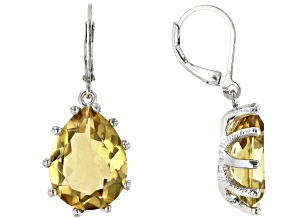Citrine Rhodium Over Sterling Silver Earrings 14.00ctw