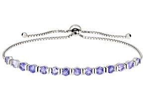 Tanzanite Rhodium Over Sterling Silver Bolo Bracelet 3.22ctw