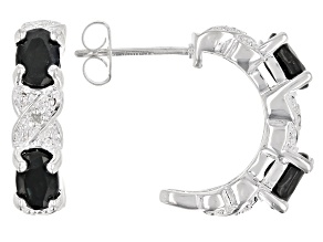 Black Sapphire Rhodium Over Sterling Silver Earrings 2.41ctw