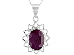 Red Ruby Sterling Silver Pendant With Chain 7.35ctw
