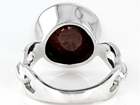 Red Ruby Sterling Silver Ring 6.43ctw