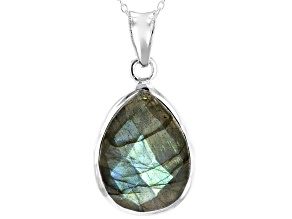 Gray Labradorite Sterling Silver Solitaire Pendant With Chain 15.15ctw