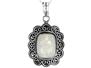Moonstone Sterling Silver Pendant With Chain 11.25ctw