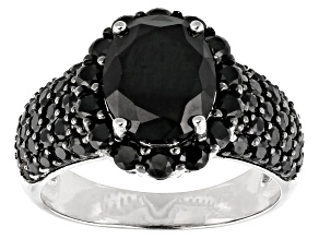 Black Spinel Rhodium Over Silver Ring 4.50ctw