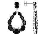 Black Spinel Rhodium Over Sterling Silver Dangle Earrings 17.70ctw