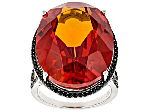 Red Lab Created Padparadscha Sapphire Rhodium Over Sterling Silver Ring 32.60ctw