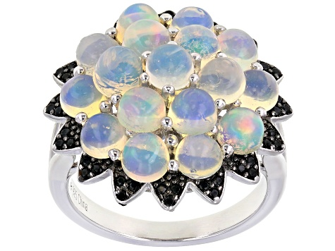 Multi-Color Opal Rhodium Over Sterling Silver Ring 0.30ctw