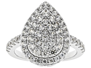 White Zircon Rhodium Over Sterling Silver Ring 1.90ctw