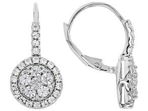 White zircon Rhodium Over Silver Earrings 1.75ctw