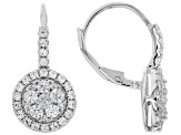 White zircon Rhodium Over Silver Earrings 1.75ctw