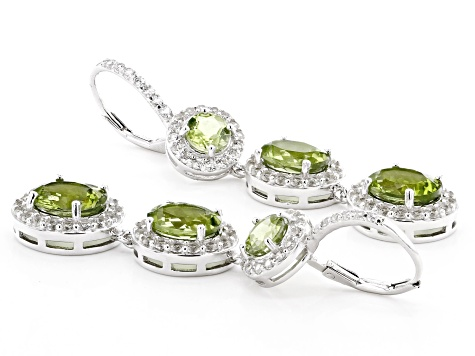 Green Peridot Rhodium Over Sterling Silver Earrings 12.25ctw