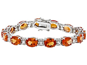 Red Lab Created Padparadscha Sapphire Rhodium Over Sterling Silver Bracelet 33.50ctw
