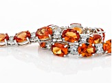 Orange Lab Created Padparadscha Sapphire Rhodium Over Sterling Silver Bracelet 33.50ctw