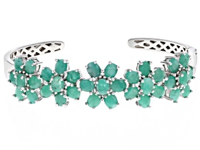 Emerald Rhodium Over Sterling Silver Cuff Bracelet