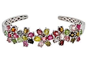 Multi-color Tourmaline Oval  Rhodium Over Sterling Silver Cuff Bracelet 9.5ctw