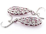 Pink Blush Garnet Rhodium Over Sterling Silver Dangle Earrings 9.80ctw
