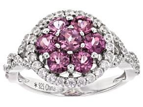 Pink Blush Garnet Rhodium Over Sterling Silver Cluster Ring 2.15ctw