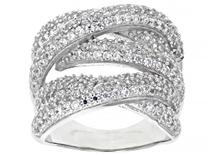 White Zircon Rhodium Over Sterling Silver Multi-Row Ring 2.75ctw