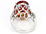 Orange Lab Created Padparadscha Sapphire Rhodium Over Sterling Silver Ring 16.75ctw