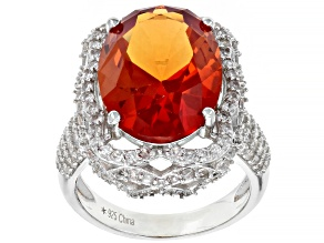 Orange Lab Created Padparadscha Sapphire Rhodium Over Silver Ring 11.8ctw