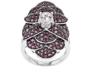 Pink Kunzite Rhodium Over Sterling Silver Ring 3.70ctw