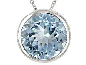 Sky Blue Topaz Rhodium Over Sterling Silver Center Design Necklace